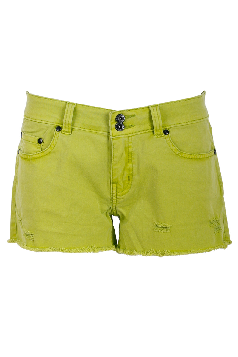 RELIGION-CLOTHING-LADIES-LIME-GREEN-WOMENS-FRAYED-DENIM-HOTPANT-SHORTS-SIZE-6-14
