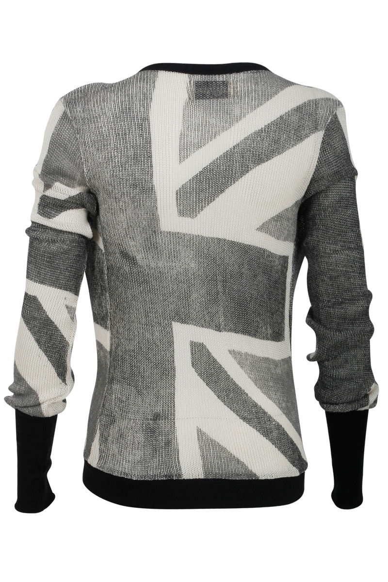 NEW-RELIGION-WOMENS-GREY-CREAM-LADIES-UNION-JACK-OPEN-FRONT-CARDIGAN-SIZE-6-14