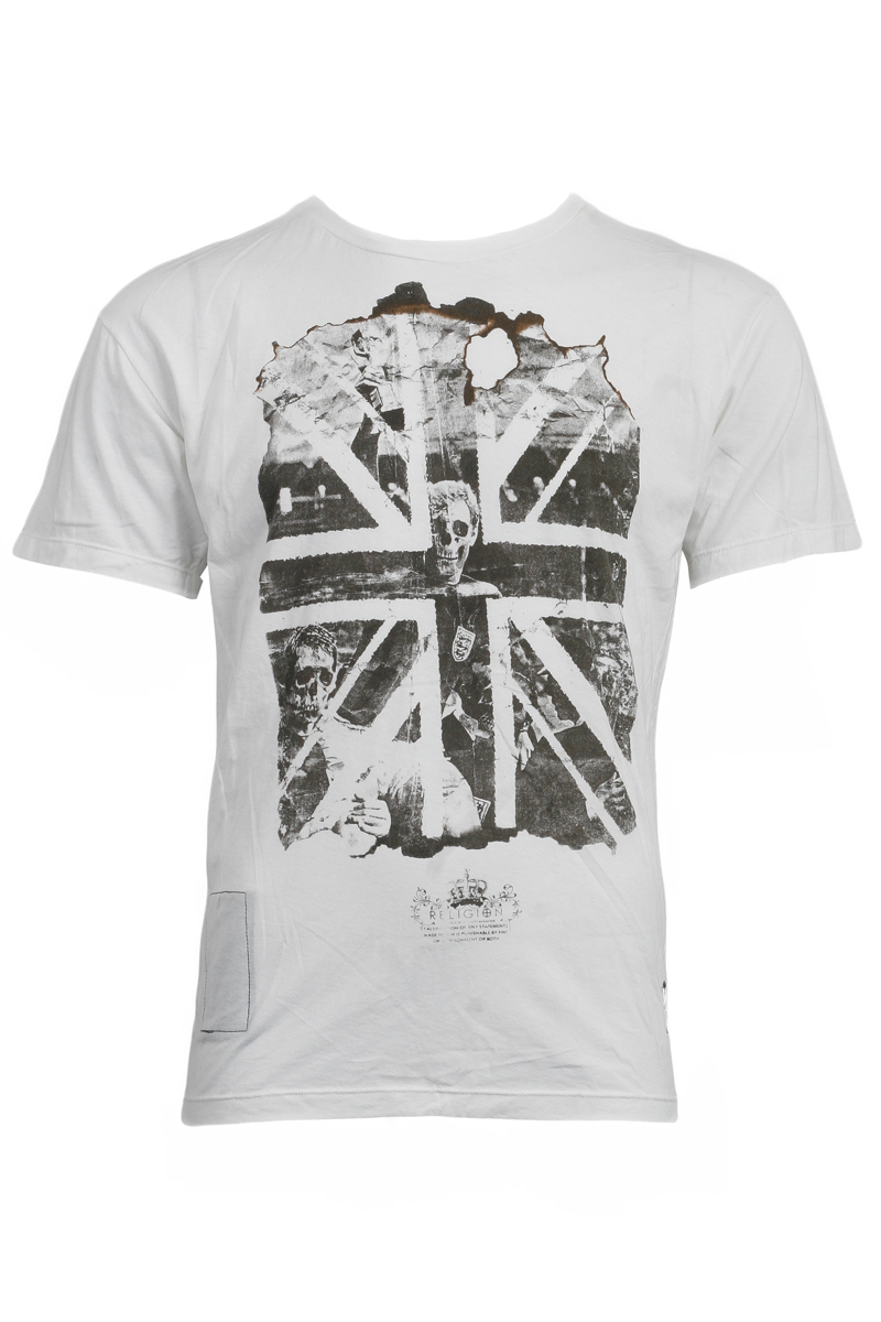 RELIGION-MENS-WHITE-BASIC-SKULL-UNION-JACK-CREW-NECK-PRINTED-T-SHIRT-SIZE-XS-XXL
