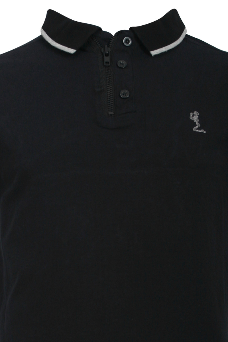 NEW-RELIGION-MENS-JET-BLACK-ZIP-BUTTON-STRIPED-POLO-T-SHIRT-TOP-SIZE-XS-XXL-UK