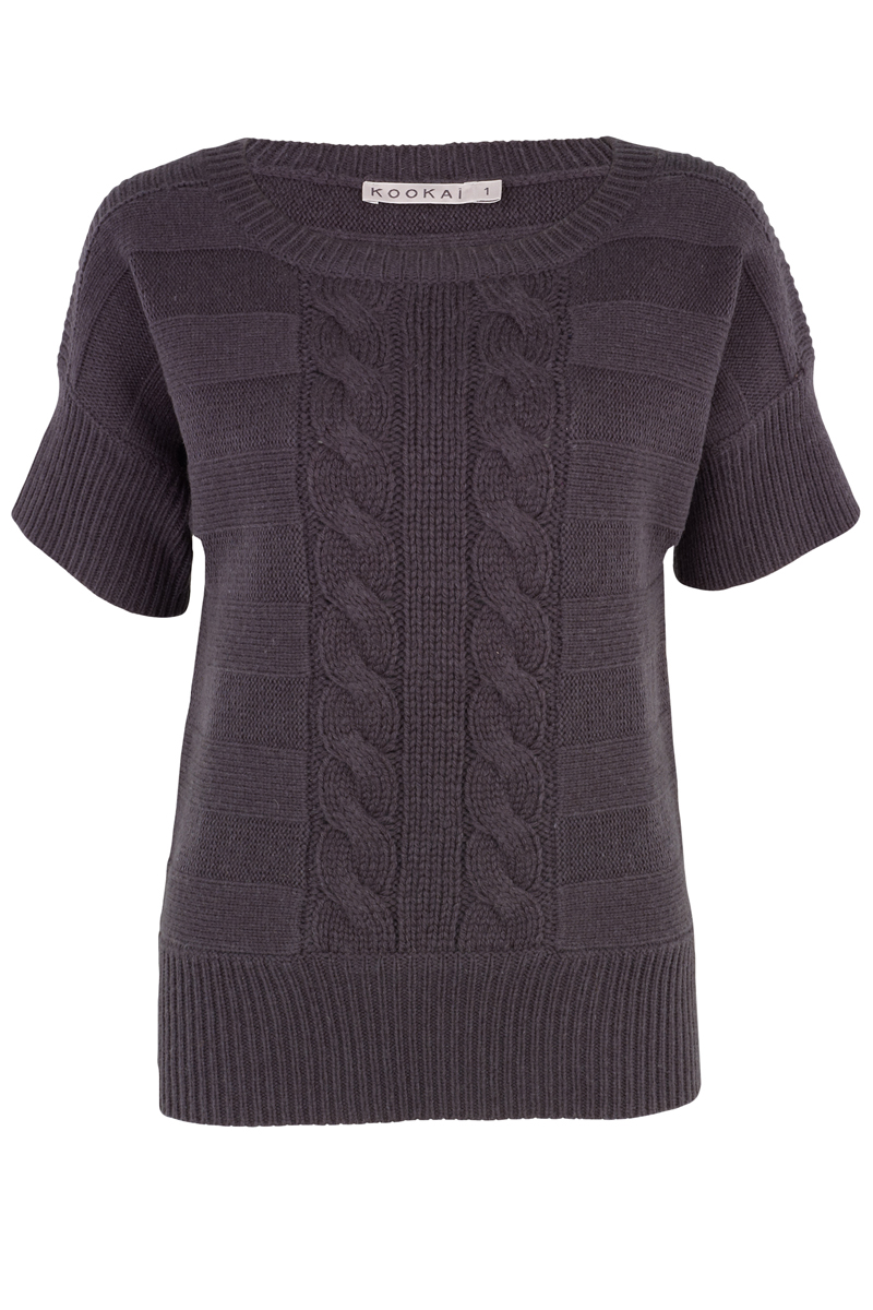 NEW-LADIES-KOOKAI-GREY-SHORT-SLEEVE-JUMPER-TOP-6-16-UK