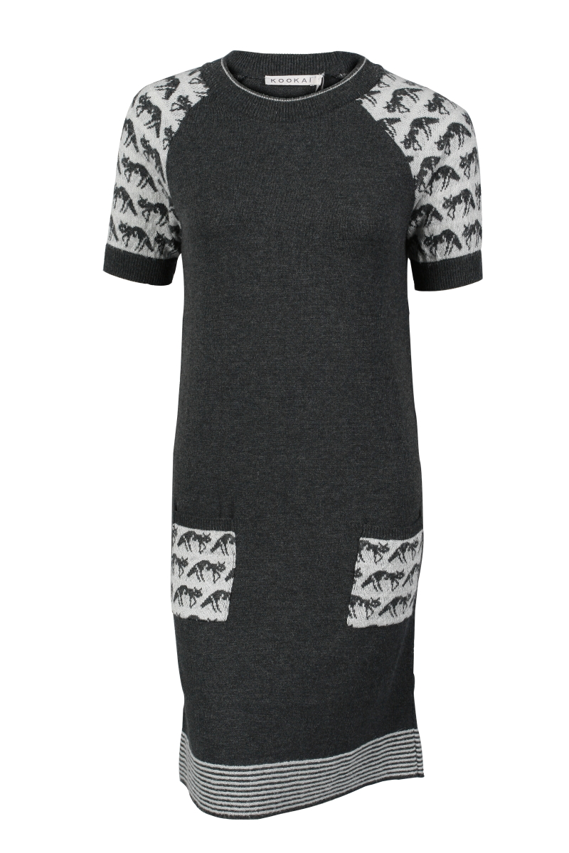LADIES-KOOKAI-GREY-FOX-MOTIF-SWEATER-DRESS-SIZE-6-16-UK