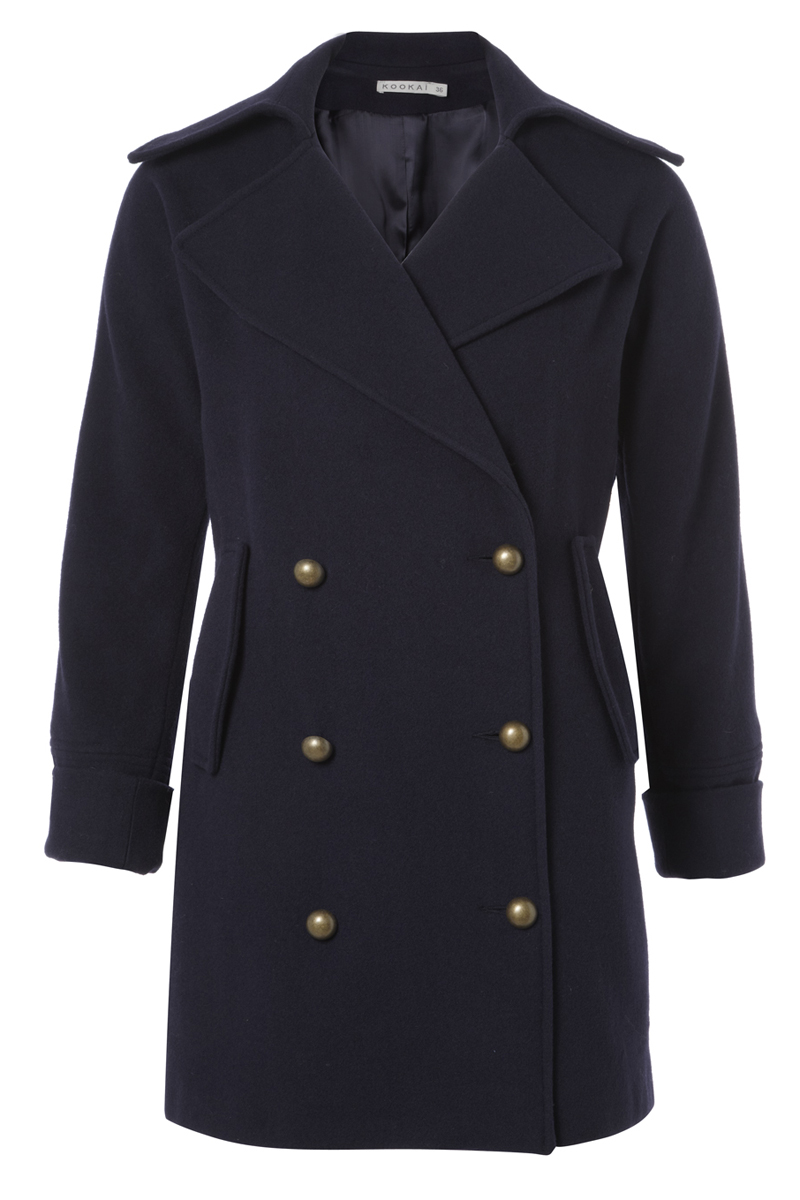 NEW-KOOKAI-LADIES-NAVY-BLUE-DOUBLE-BREASTED-MILITARY-FORMAL-PEA-COAT-SIZE-8-16