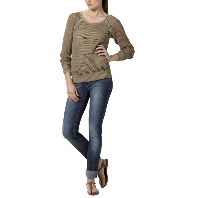 LADIES-KOOKAI-KHAKI-LONG-SLEEVED-MESH-KNIT-ELBOW-PATCHES-WOMENS-JUMPER-SIZE-6-16