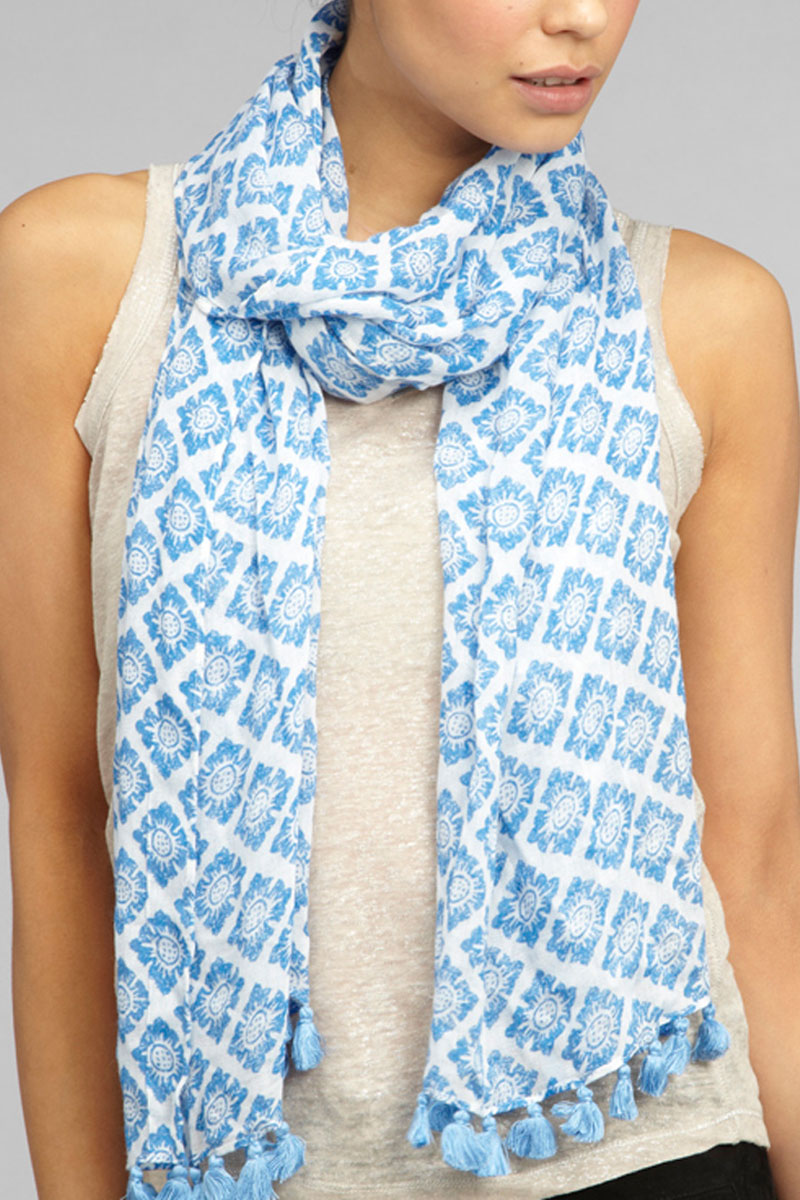 NEW-LADIES-KOOKAI-BLUE-TILE-PRINT-TASSEL-DETAIL-WOMENS-WRAP-SHAWL-SCARF-ONE-SIZE