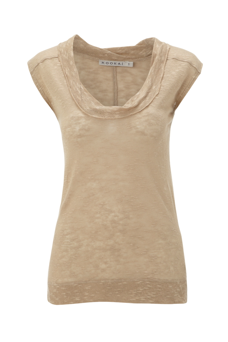 NEW-LADIES-KOOKAI-BEIGE-SLEEVELESS-SLUB-KNIT-JERSEY-WOMENS-TANK-TOP-SIZE-6-16-UK