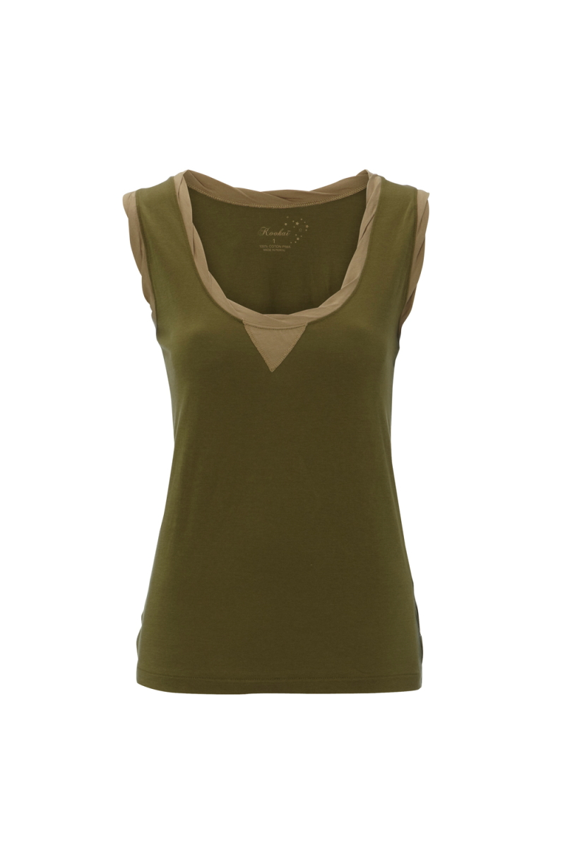 NEW-WOMENS-KOOKAI-GREEN-WOVEN-TRIM-VEST-LADIES-SLEEVELESS-TANK-TOP-SIZE-6-16-UK