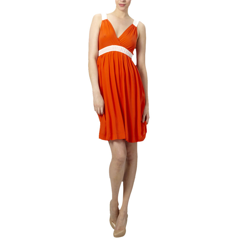 LADIES-KOOKAI-ORANGE-SILK-BI-COLOUR-STRAPPY-STRETCHY-ABOVE-KNEE-DRESS-SIZE-6-16