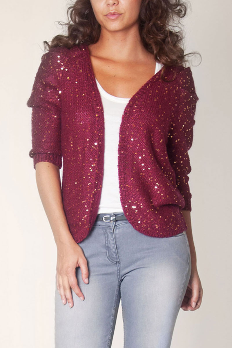 KOOKAI-WOMENS-BURGUNDY-SEQUIN-PLEAT-SLEEVE-LADIES-KNIT-WOOL-CARDIGAN-SIZE-6-16
