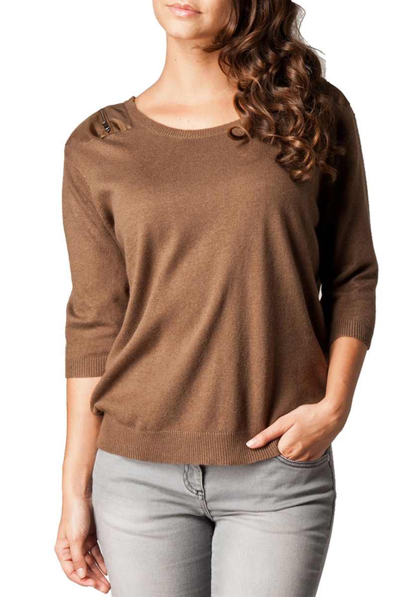 KOOKAI-NEW-WOMENS-BROWN-KNITTED-ZIP-SHOULDER-PATCH-LADIES-SWEATER-TOP-SIZE-6-16