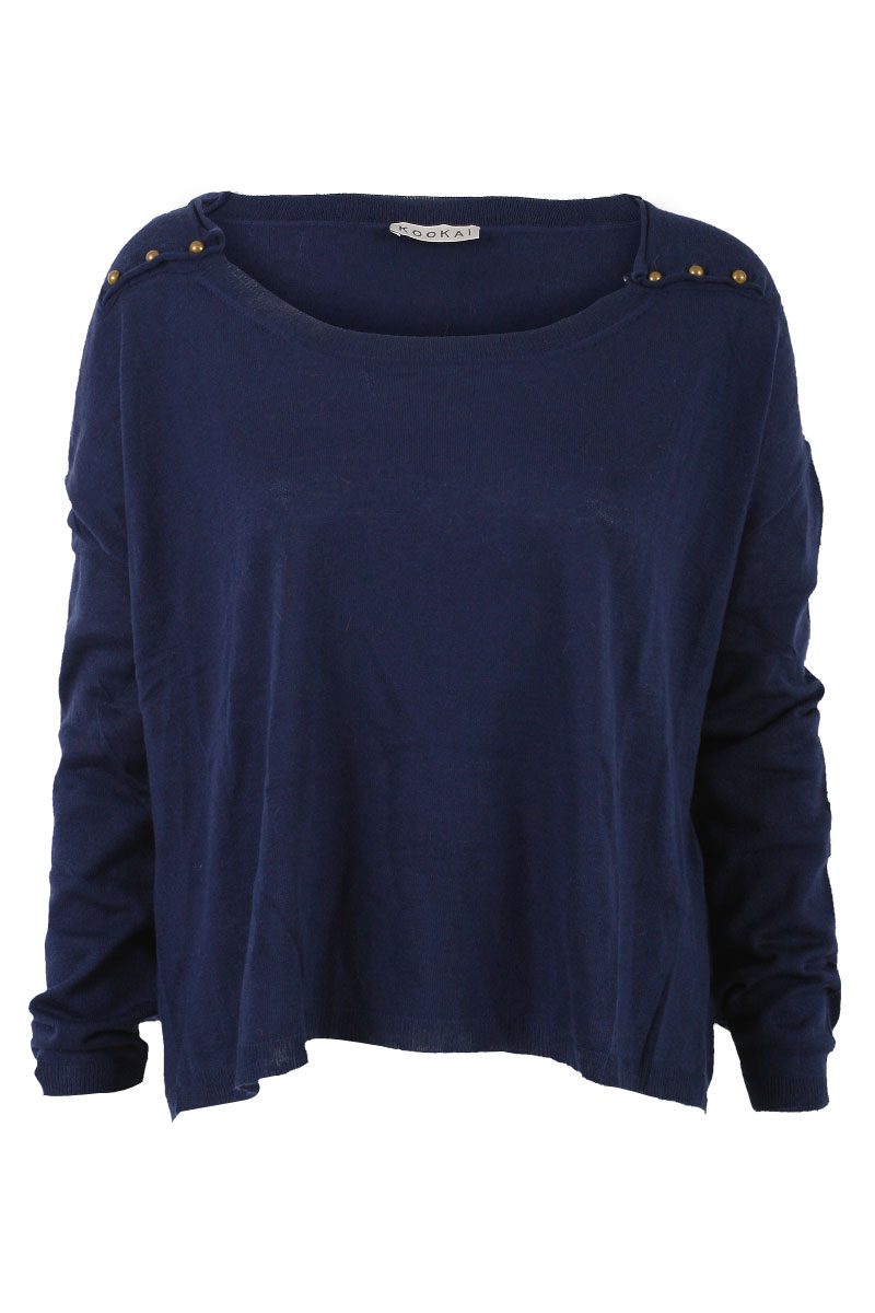 KOOKAI-WOMENS-NAVY-BLUE-STUD-DETAIL-SLOUCH-SWEATER-LADIES-WOOL-JUMPER-SIZE-6-16