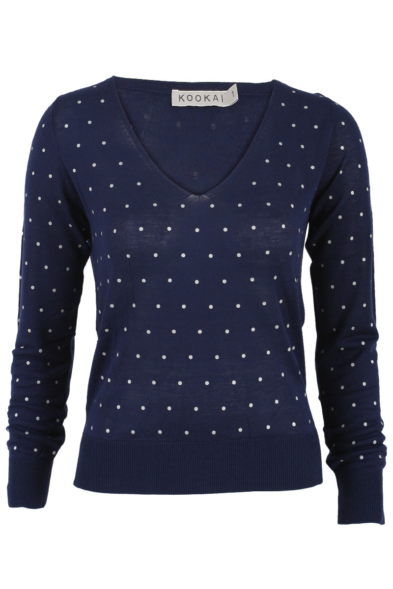 KOOKAI-WOMENS-POLKA-DOT-V-NECK-LADIES-LONG-SLEEVE-JUMPER-SWEATER-TOP-SIZE-6-16