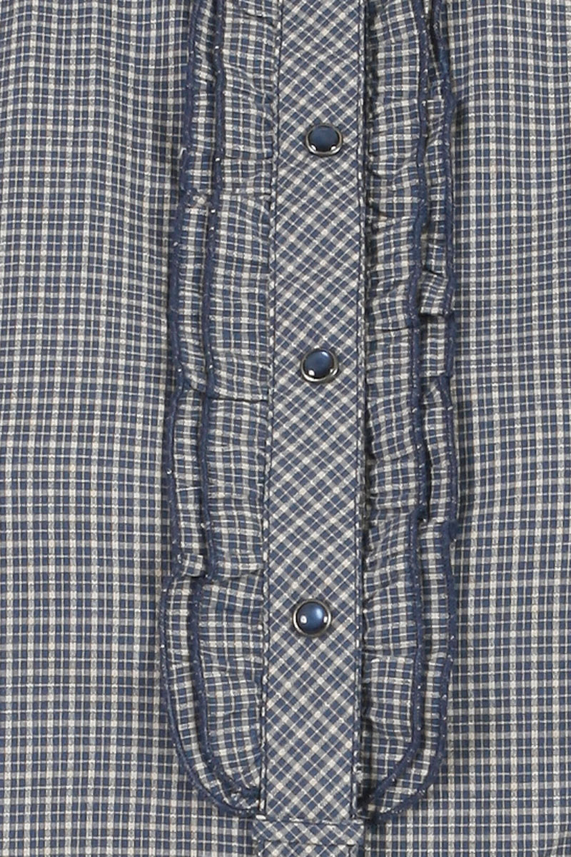 NEW-KOOKAI-WOMENS-BLUE-MINI-CHECKED-COTTON-LADIES-FRILL-CASUAL-SHIRT-SIZE-6-16