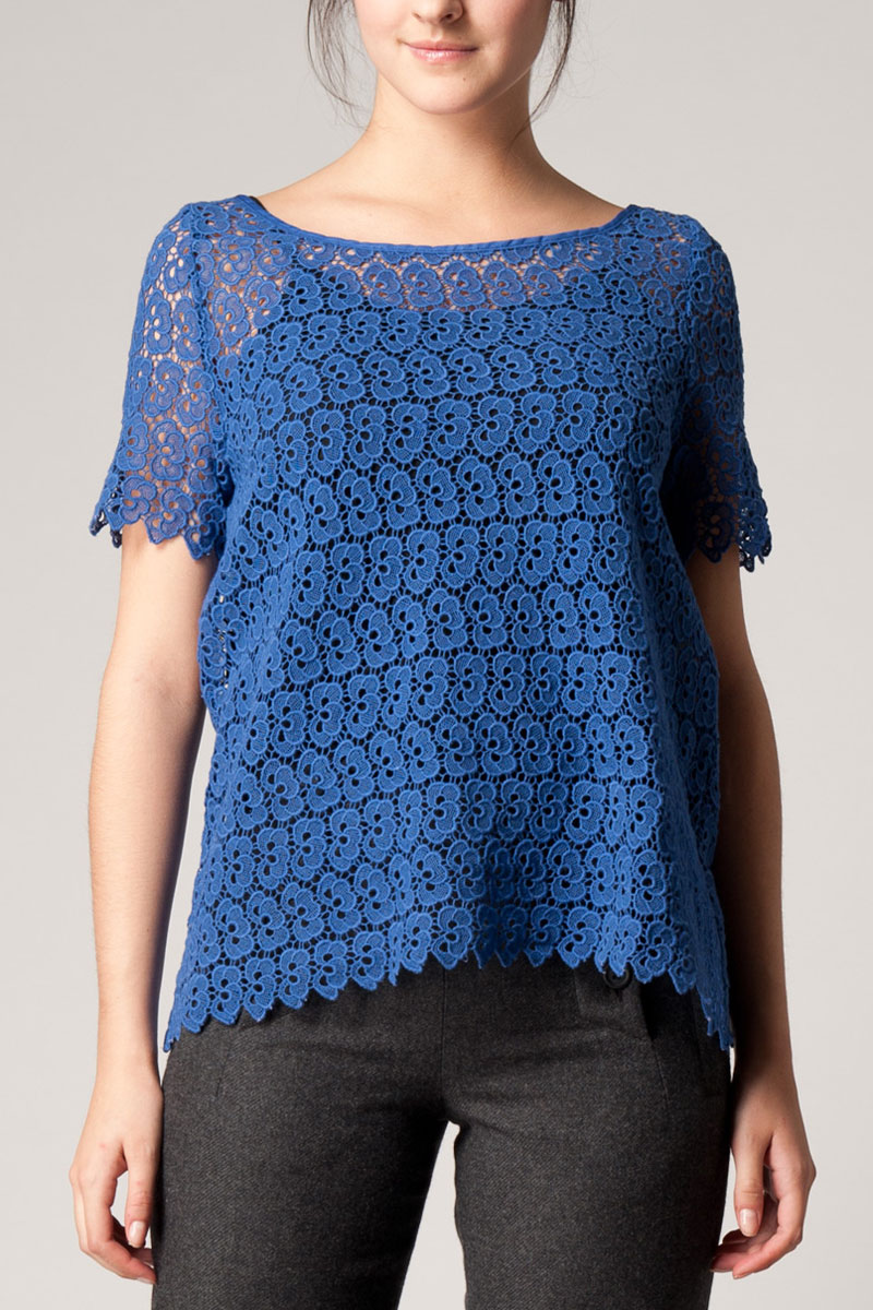 KOOKAI-WOMENS-BLUE-CROCHET-SHORT-SLEEVE-EXPOSED-ZIP-LADIES-COTTON-TOP-SIZE-6-16