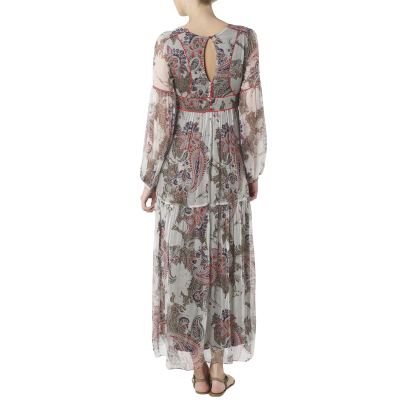 KOOKAI-WOMENS-KHAKI-FLORAL-SHEER-LONG-SLEEVE-BOHO-LADIES-MAXI-DRESS-SIZE-6-16-UK