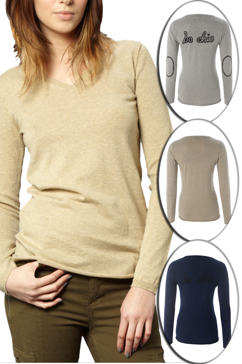KOOKAI-LADIES-V-NECK-LONG-SLEEVED-ELBOW-PATCHES-WOMENS-KNITTED-SWEATER-SIZE-6-16