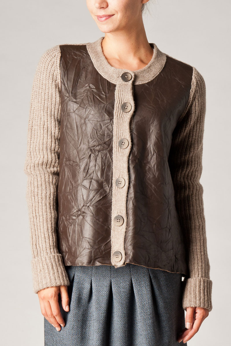 KOOKAI-WOMENS-CINNAMON-LEATHER-PANEL-KNITTED-JACKET-LONG-SLEEVED-SIZE-6-16-UK