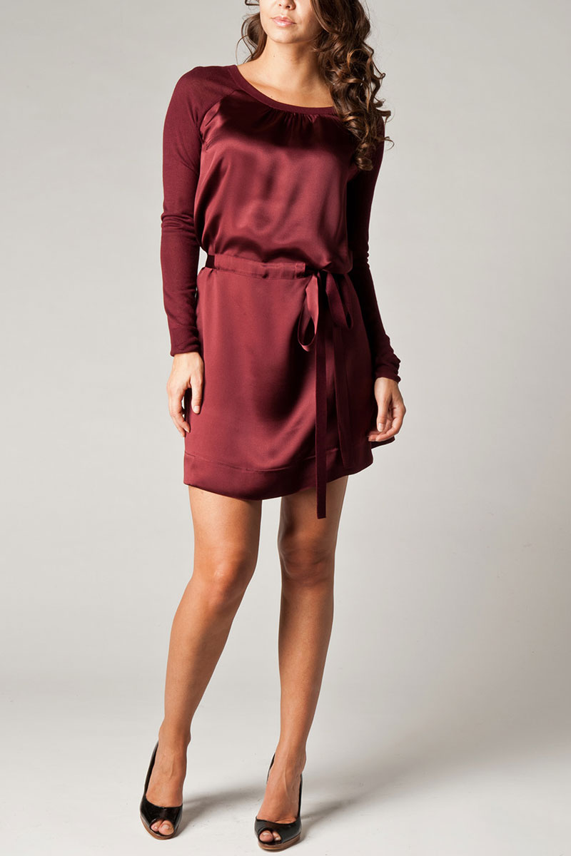 LADIES-KOOKAI-BURGUNDY-CONTRAST-SLEEVE-WOMENS-TUNIC-RIBBON-TIE-DRESS-SIZE-6-16