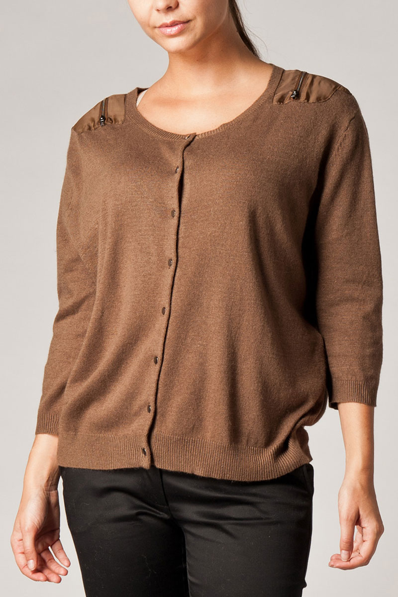 NEW-WOMENS-KOOKAI-BROWN-SHOULDER-ZIP-DETAIL-BUTTONED-LADIES-CARDIGAN-SIZE-6-16