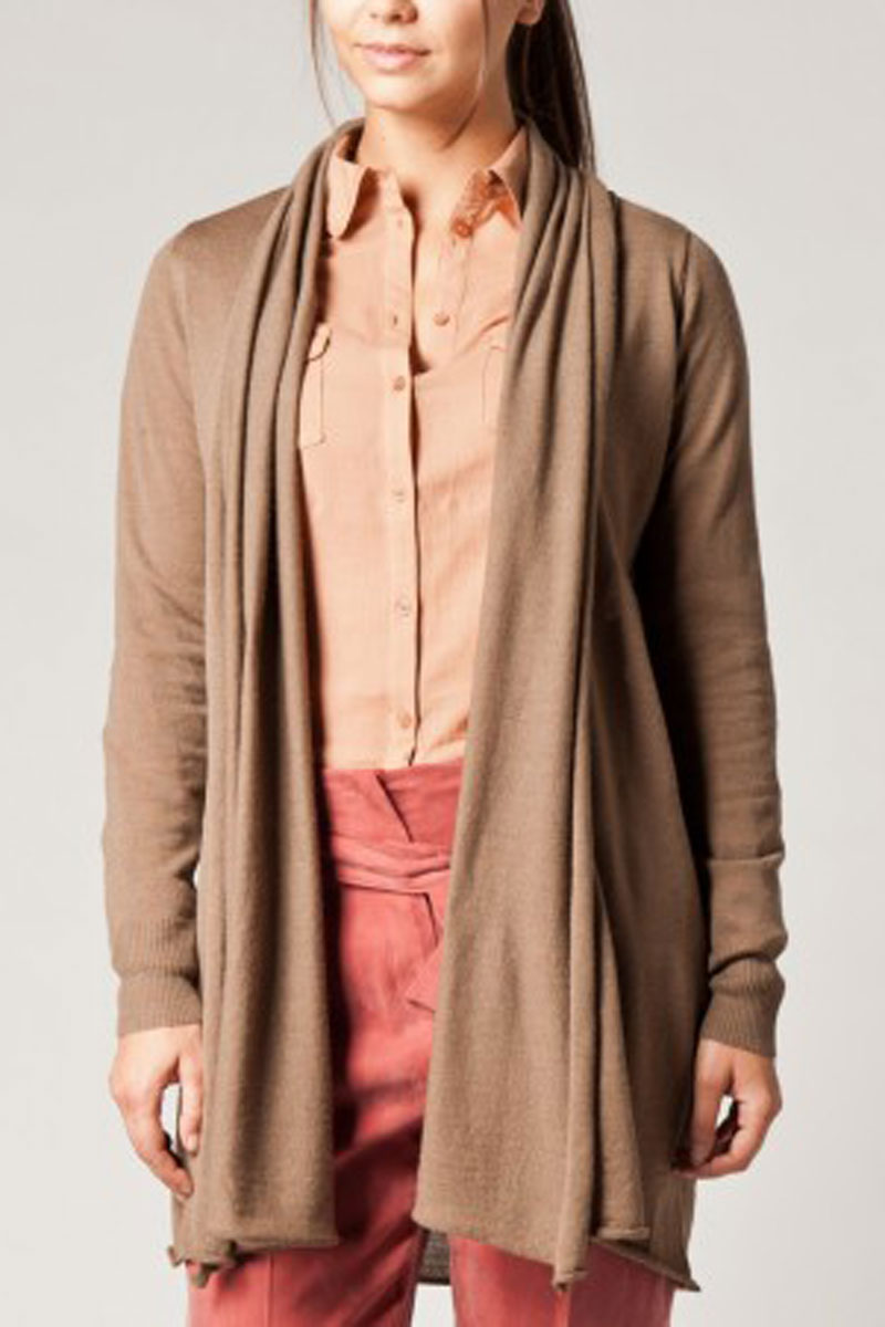 NEW-WOMENS-KOOKAI-BROWN-DRAPE-NECK-ELBOW-PATCH-LADIES-CARDIGAN-SIZE-6-16-UK