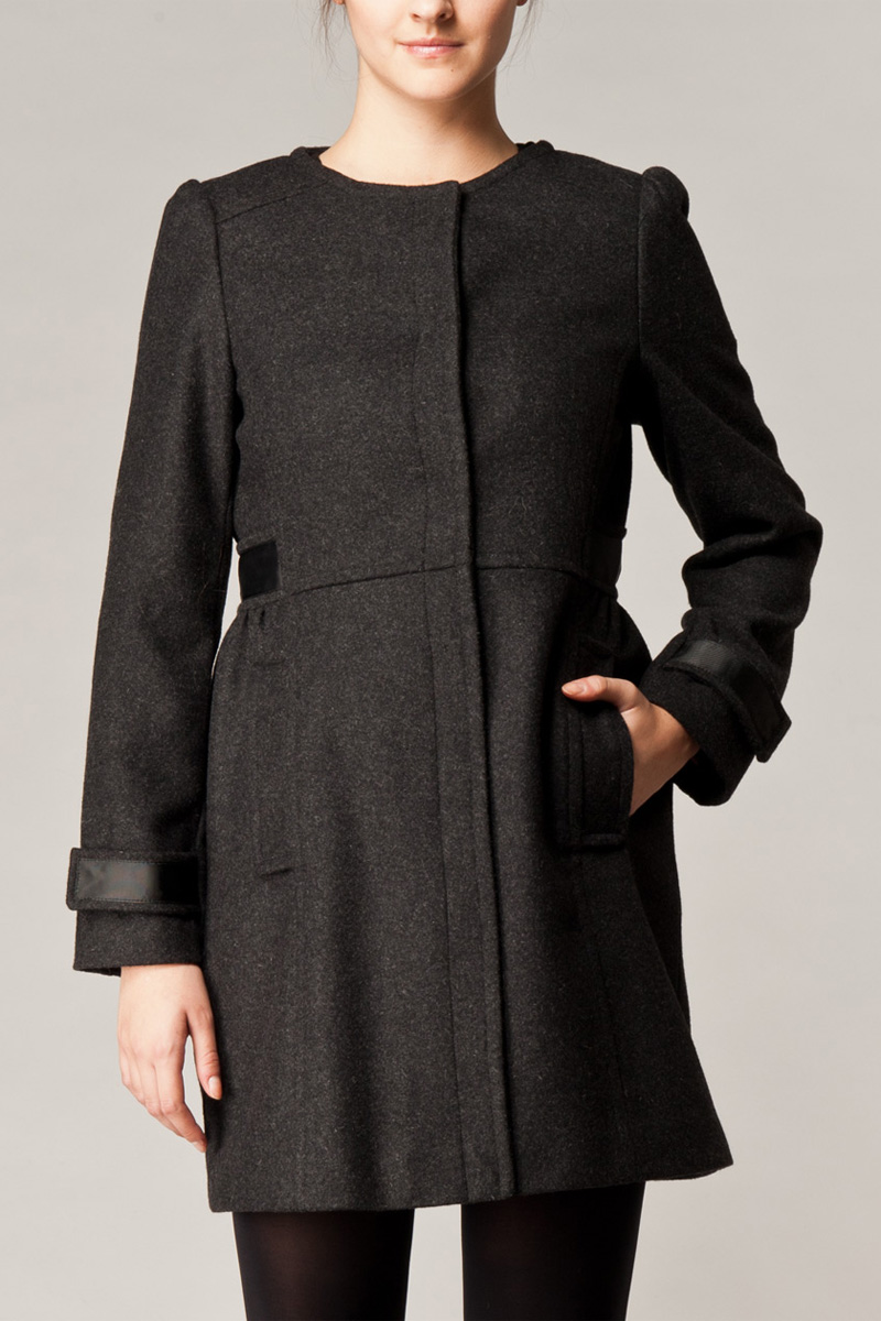 NEW-WOMENS-KOOKAI-CHARCOAL-MARL-LADIES-COLLARLESS-RIBBON-TRIM-COAT-SIZE-6-16-UK