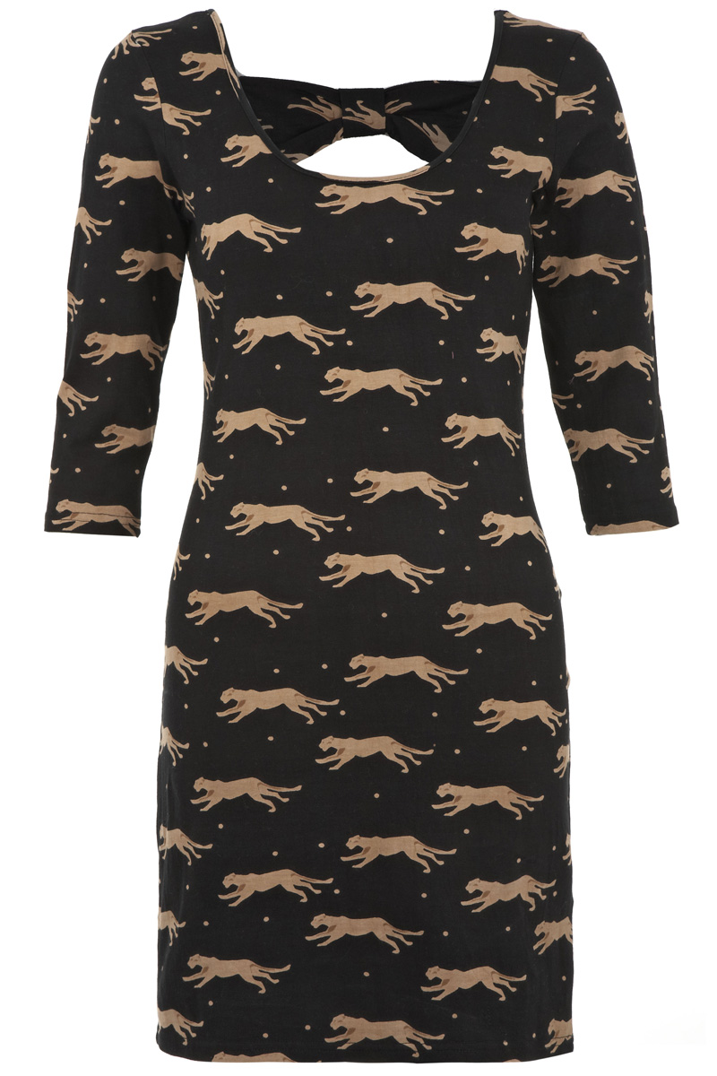 YUMI-BLACK-PANTHER-PRINT-BOW-LADIES-3-4-SLEEVED-MINI-SUMMER-DRESS-SIZE-8-14-DD