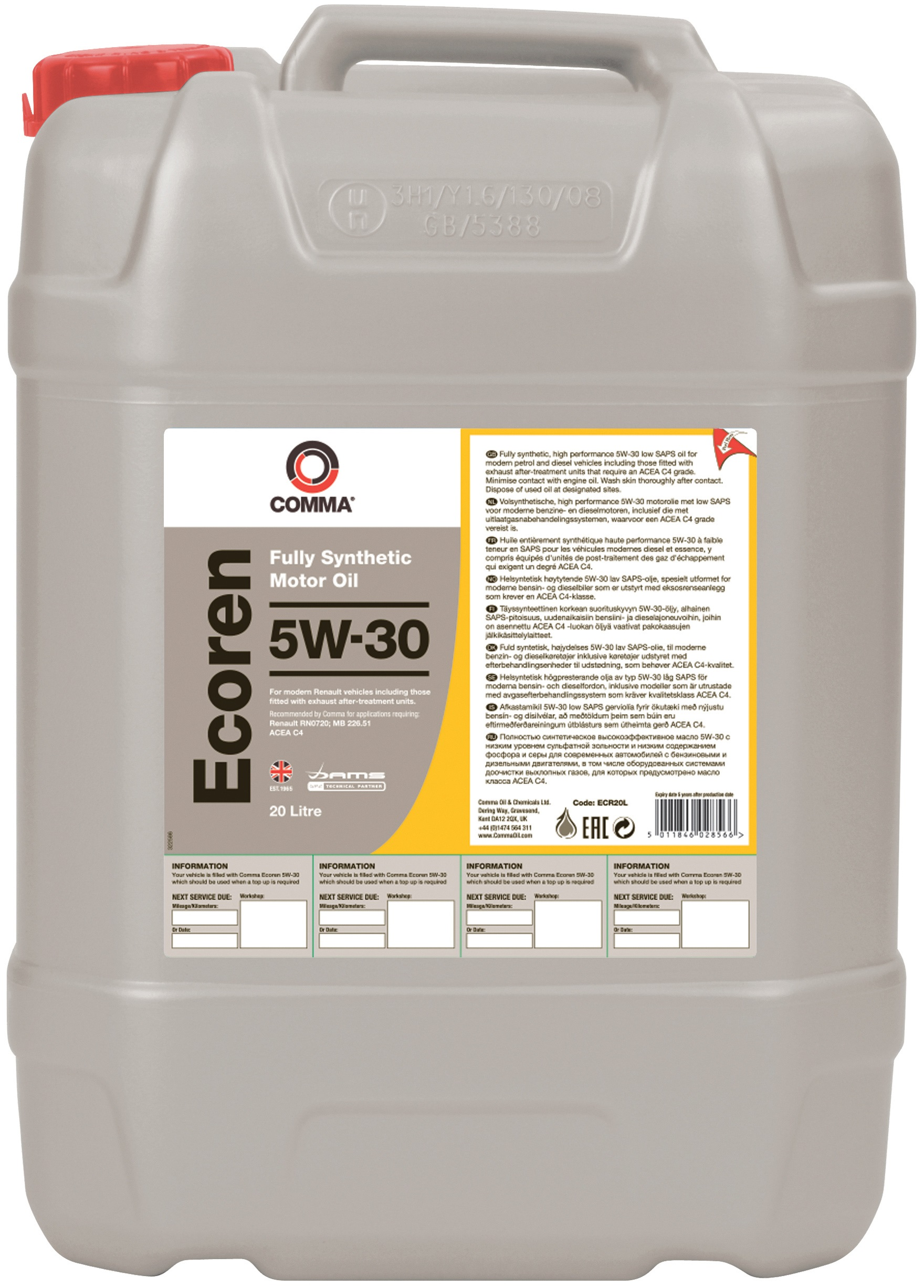 ecoren huile moteur 5w30 c4 20 litre ecr20l comma ebay. Black Bedroom Furniture Sets. Home Design Ideas