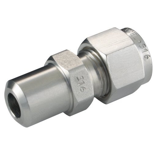Stainless steel twin ferrules male pipe weld conn