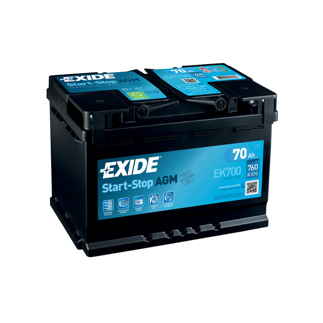 1x exide stop start 70ah 760cca 12v 067 agm car battery 4. Black Bedroom Furniture Sets. Home Design Ideas