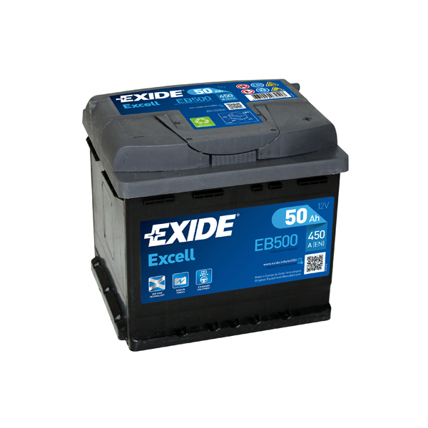 1x exide excell 50ah 450cca 12v type 079 car battery 3 year warranty eb500 ebay. Black Bedroom Furniture Sets. Home Design Ideas