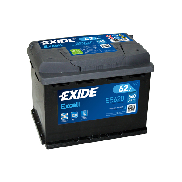 1x exide excell 62ah 540cca 12v type 027 car battery 3 year warranty eb620 ebay. Black Bedroom Furniture Sets. Home Design Ideas