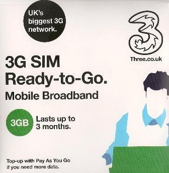 Three 3 3GB SIM CARD 90 DAYS DATA MOBILE BROADBAND TABLET DONGLE GALAXY ARCHOS