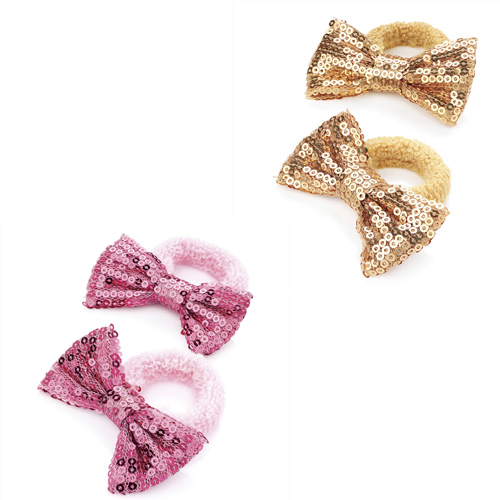 Ladies-Womens-Fashion-One-Pair-Gold-Pink-Sequin-Bow-Hair-Ponio-Set