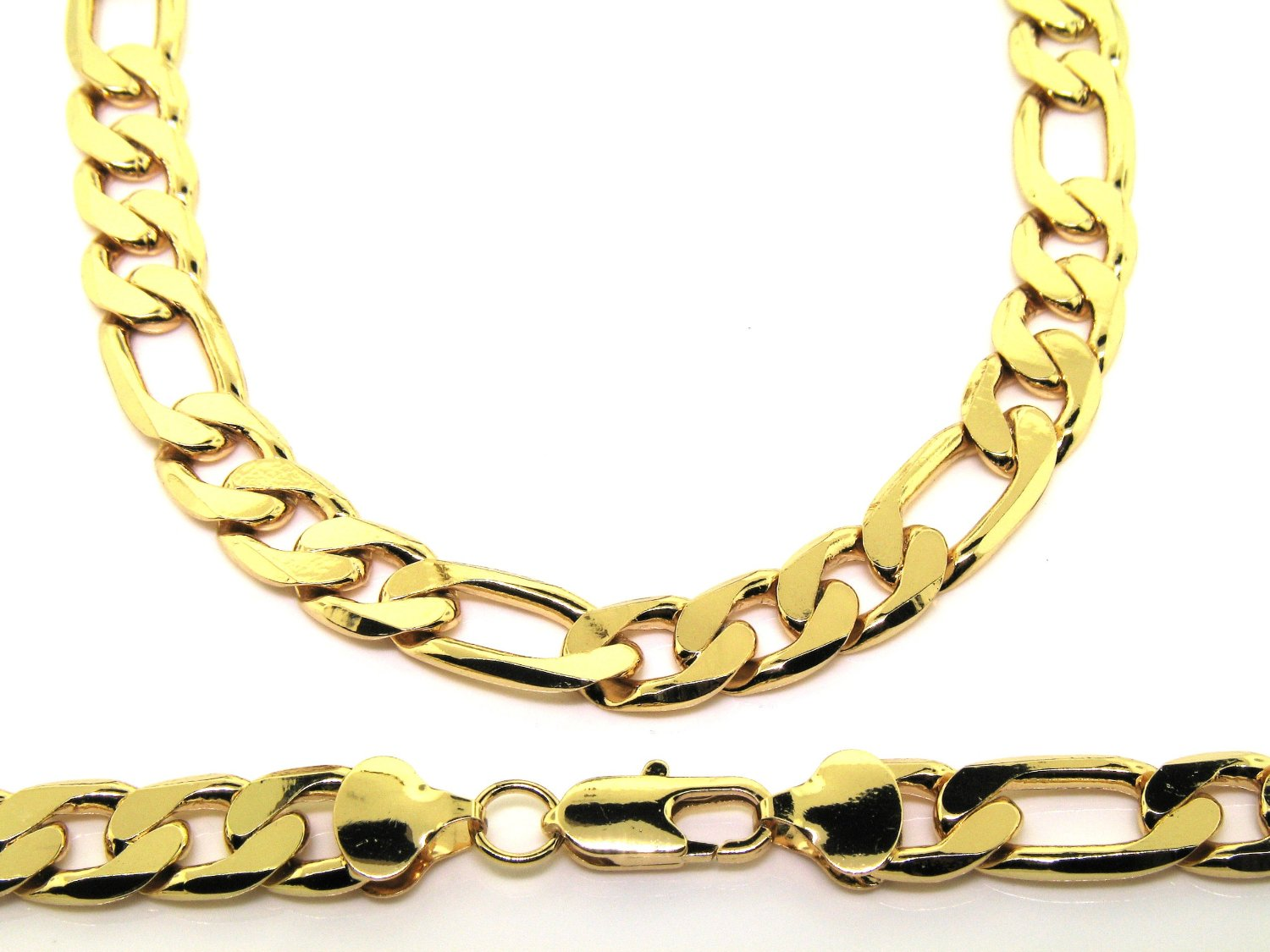 new mens 20 24 30 inch 13mm heavy 24k gold plated figaro chain necklace. Black Bedroom Furniture Sets. Home Design Ideas