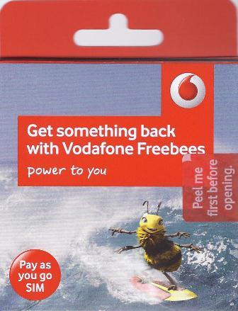 Vodafone Mobile Phone Sim Card 3G PAYG Free P&P max 2 Per Household