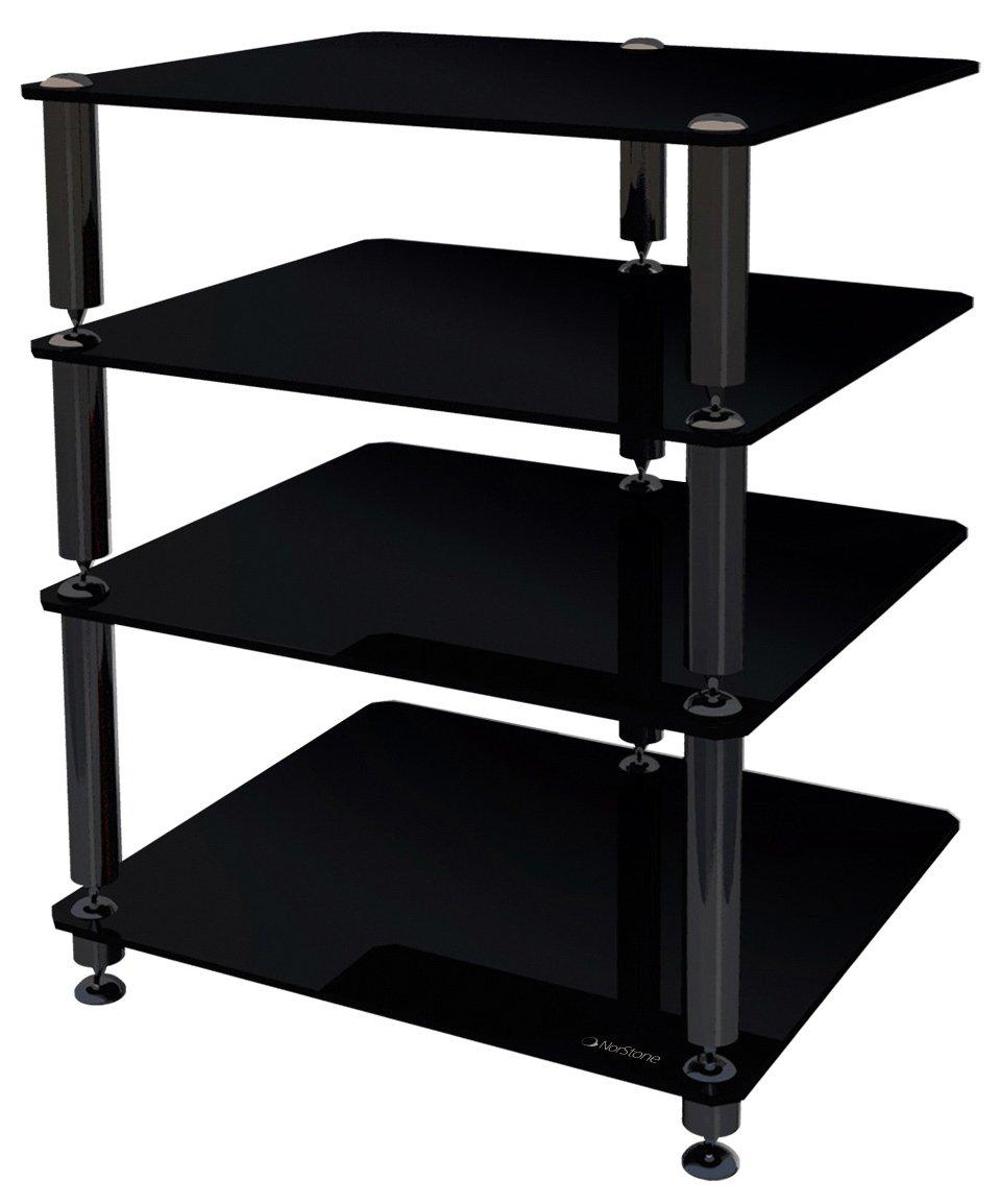norstone bergen 2 black hi fi rack ebay. Black Bedroom Furniture Sets. Home Design Ideas