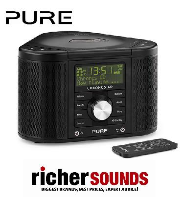 pure chronos cd series ii 2 black dab fm tuner clock radio cd player music ebay. Black Bedroom Furniture Sets. Home Design Ideas