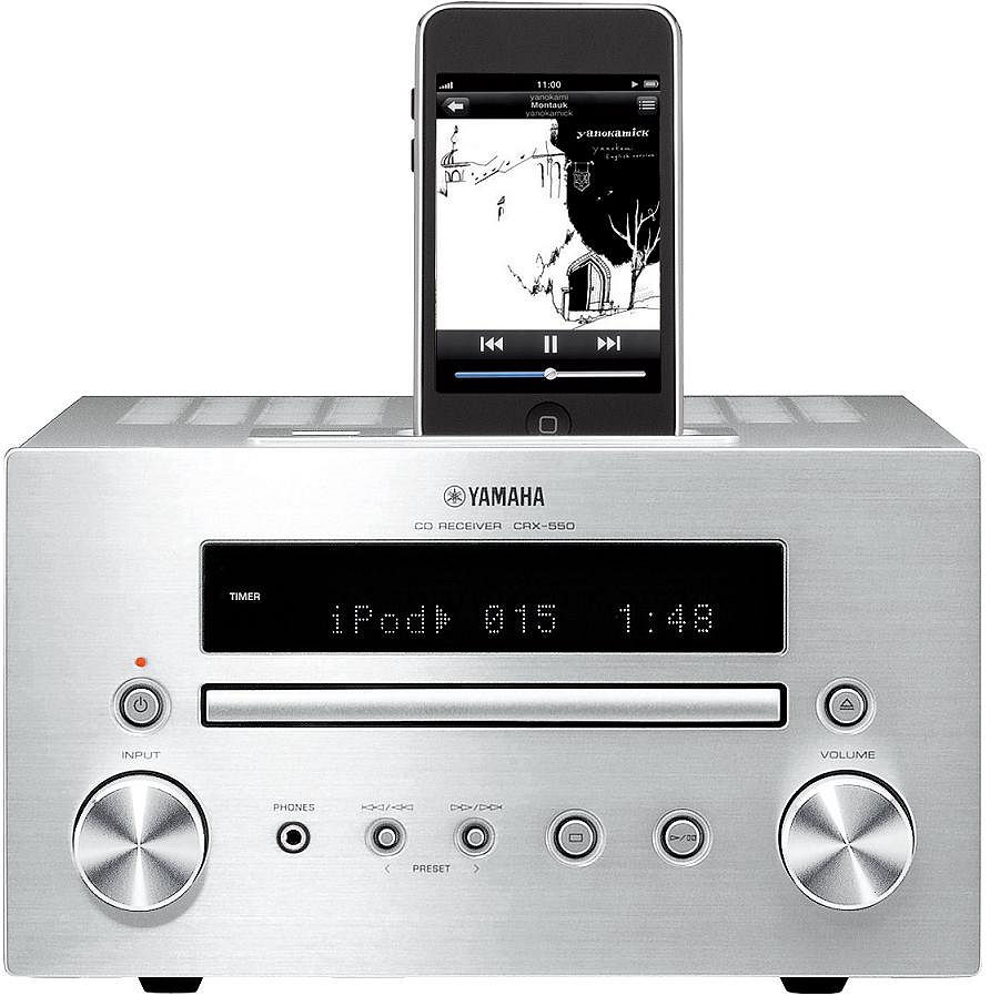 yamaha crx 550 silver cd receiver with ipod dock ipod. Black Bedroom Furniture Sets. Home Design Ideas