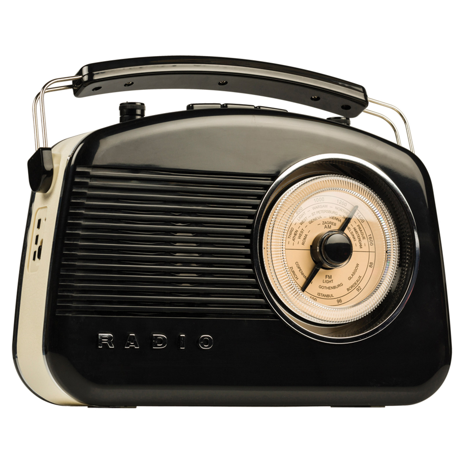 konig new retro vintage am fm portable black radio with bluetooth hav tr800bl ebay. Black Bedroom Furniture Sets. Home Design Ideas