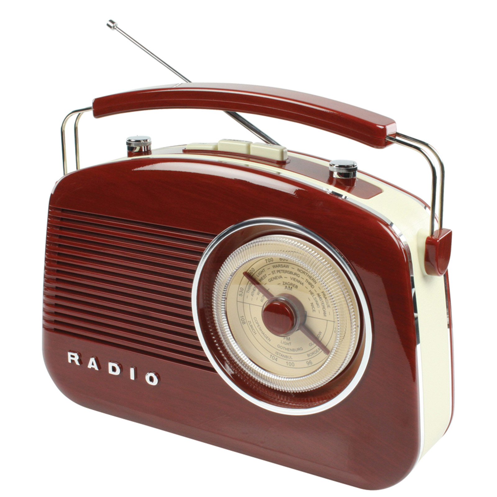 konig new retro vintage am fm portable big dial radio brown hav tr710br radios. Black Bedroom Furniture Sets. Home Design Ideas