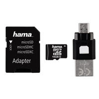 16GB Micro SD SDHC Card & USB Adapter & OTG Reader Class 10 22MB/s Mobile Hama