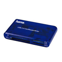 Memory Card Reader CF SD SDHC SDXC Micro USB 2.0 Writer By Hama - Blue