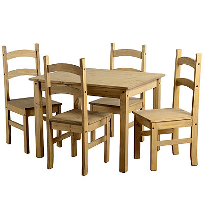 CORONA WAXED PINE WOOD MEXICAN BUDGET KITCHEN DINING SET TABLE 4 CHAIRS NEW
