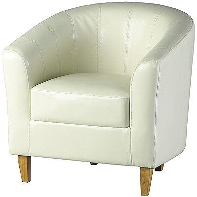 Tempo tub chair cream tub chairs faux leather armchair for Cream armchair