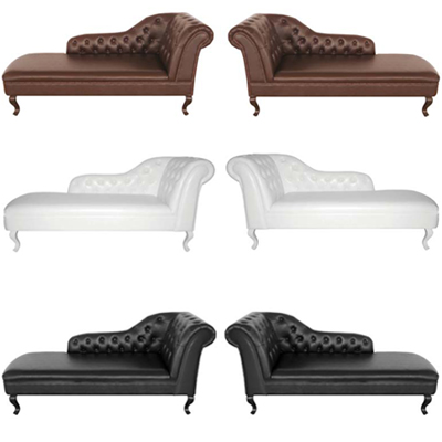 Premier Housewares Chesterfield Leather Chaise Lounge In Black White Brown