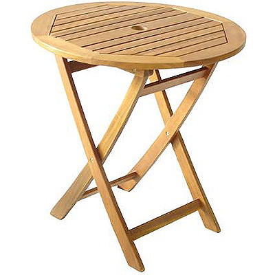 york 70 cm small round acacia wooden garden folding table in natural