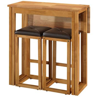 Caspian 2 Seater Oak Breakfast Bar Set With 2 Stools Brown Pu Seat Pads Ebay
