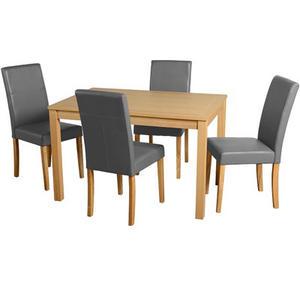 Oakmere 4 Seater Kitchen Dining Table Set, Oak Veneer, Silver Grey PU