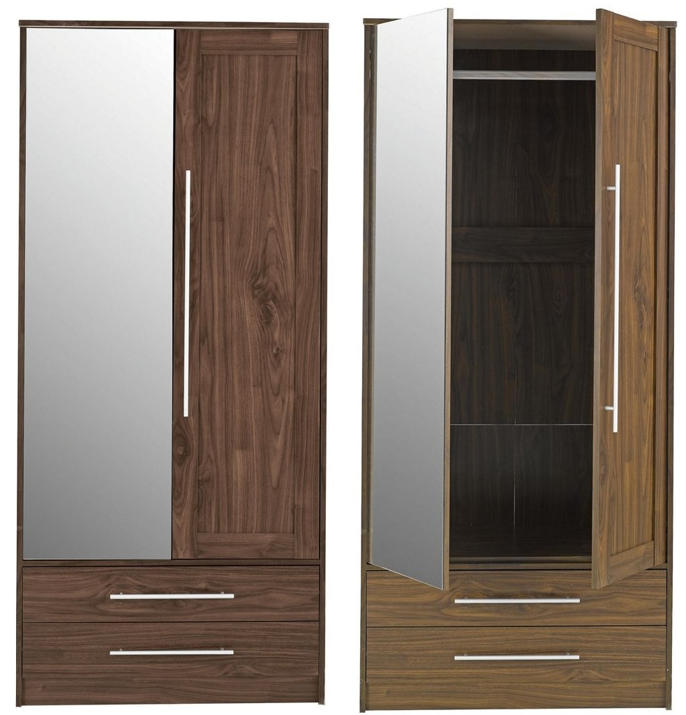 New kendal double wardrobe with drawers mirror walnut for Double mirror effect