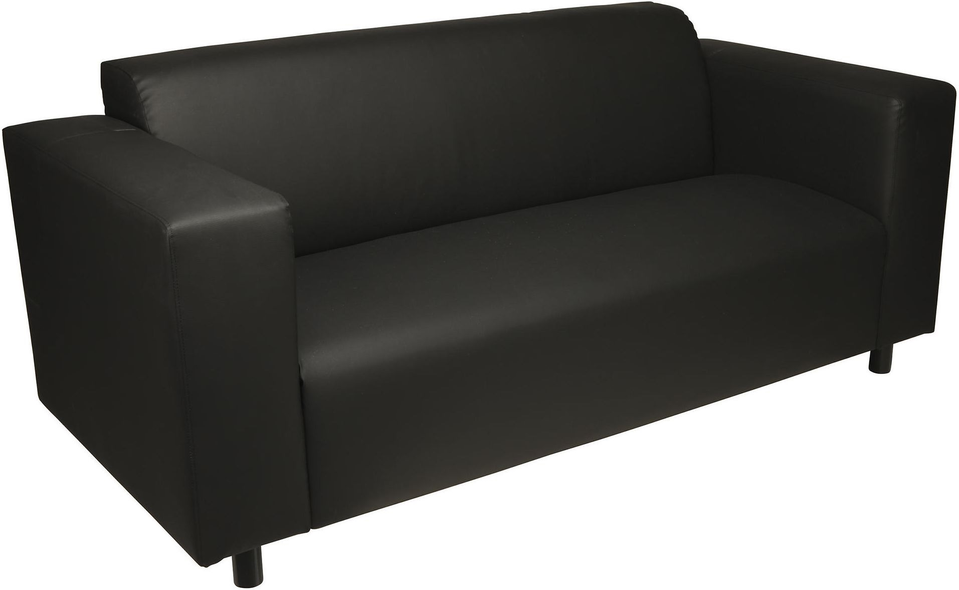 New Stanza Small 2 Seater Leather Effect Sofa Black Ebay
